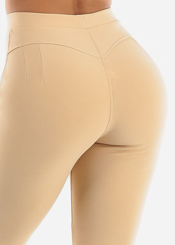 Dressy Butt Lifting Khaki Skinny Pants