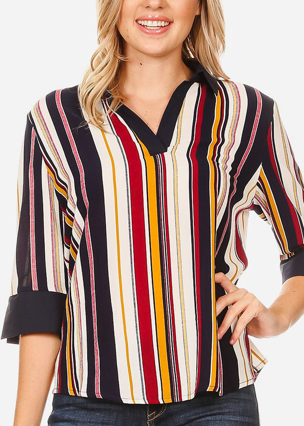 3/4 Sleeve Burgundy Stripe Blouse