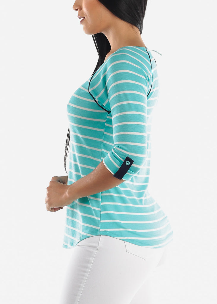Mint Striped Casual Top