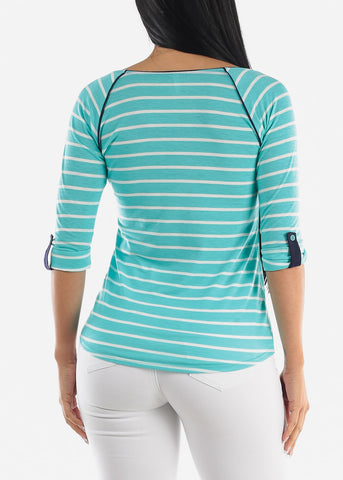 Image of Mint Striped Casual Top