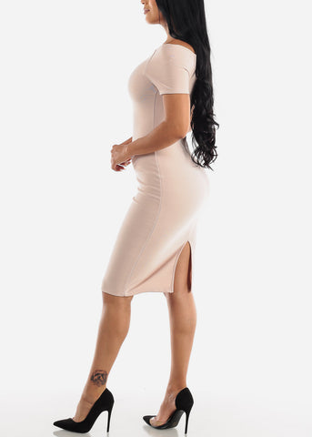 Image of Off Shoulder Nude Bodycon Midi Dress