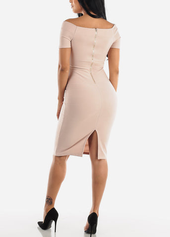 Off Shoulder Nude Bodycon Midi Dress