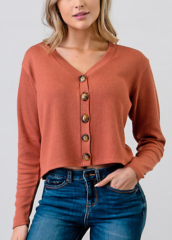 Brown Button Down Crop Top