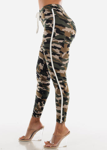 Image of Side Stripe Camouflage Leggings