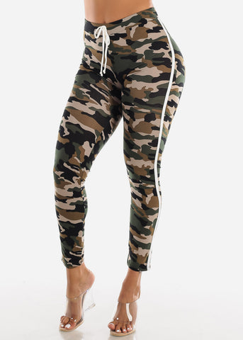 Side Stripe Camouflage Leggings