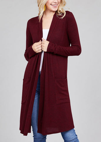 Essential Long Sleeve Open Front Burgundy Maxi Cardigan