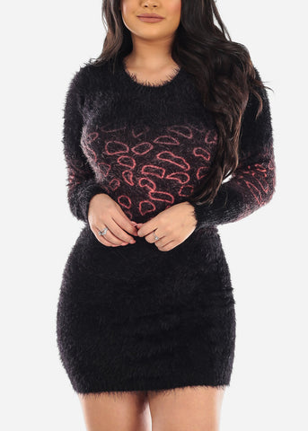 Partial Print Faux Fur Black Bodycon Dress