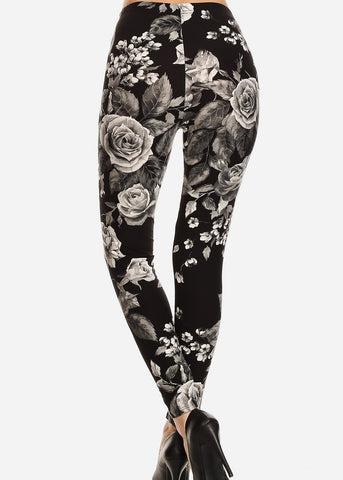 Black & Grey Floral Leggings
