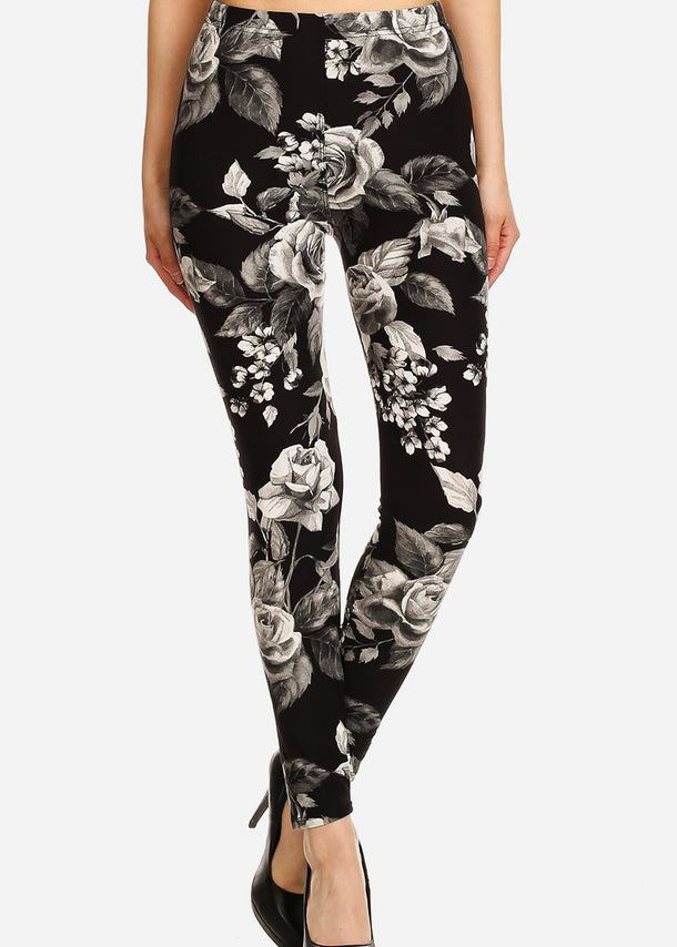 Activewear Black & Grey Floral Leggings