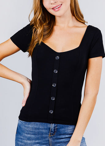 Image of Button Front Black Ribbed Top