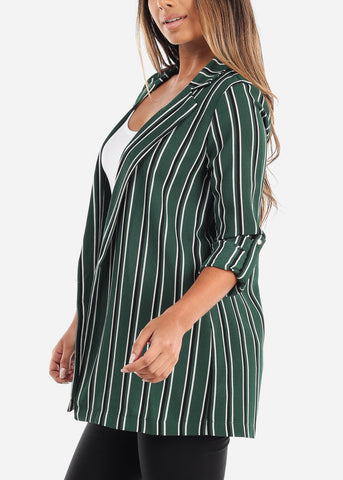 Stylish Green Striped Blazer