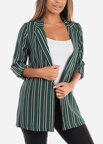 Stylish Office Business Wear 3/4 Sleeve Open Front Green Stripe Long Blazer