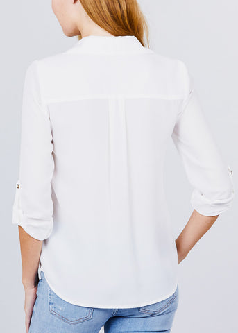 Image of Zipper Detail White Button Up Shirt