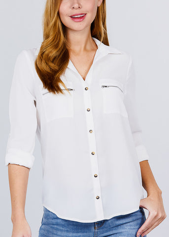 Zipper Detail White Button Up Shirt