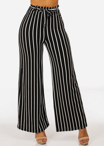 High Waist W Belt Pants (Black)
