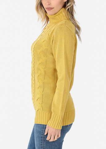 Image of Knit Turtleneck Mustard Sweater