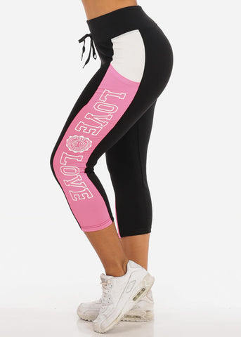 Image of Women's Activewear Training Work Out Stretchy Running Yoga  High Waisted Pink And Black Cropped Capris Graphic Black And Hot Pink Leggings Pants