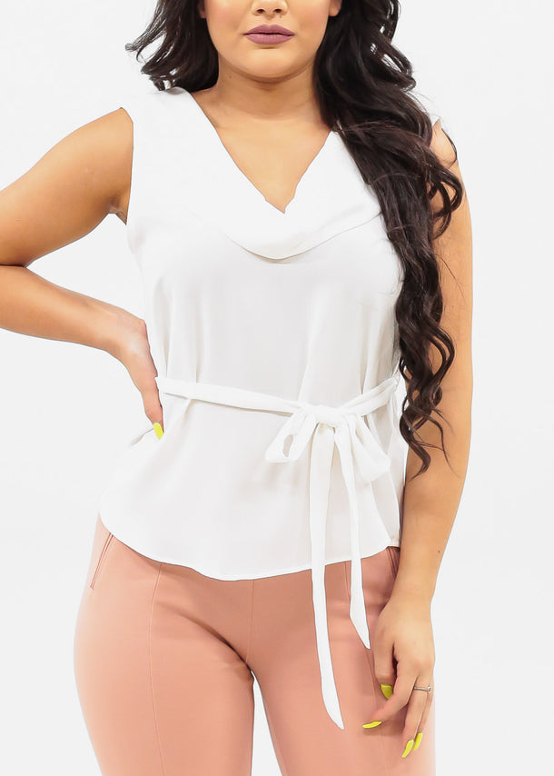 Women's Junior Ladies Dressy Sexy Stylish Must Have Cowl Neckline Sleeveless Solid White Lightweight Blouse Top With Tie Belt