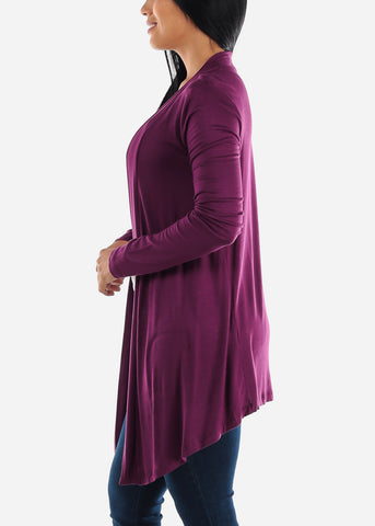 Image of Open Front Drapey Plum Cardigan