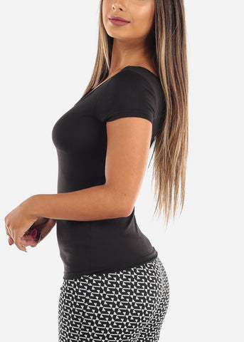 Image of Casual Cute Essential Black Stretchy Top With back Multi Straps For Women Ladies On Sale
