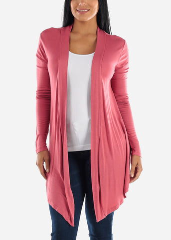 Open Front Drapey Rose Cardigan
