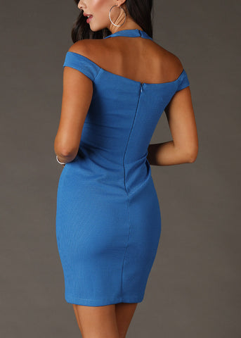 Image of Sexy Off Shoulder Blue Mini Dress