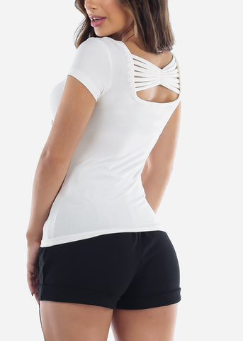 Casual Cute Essential White Stretchy Top With Back Multi Straps For Women Junior Ladies