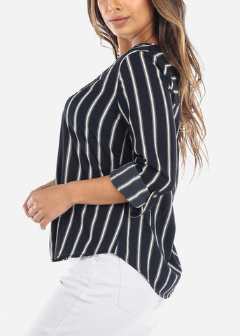 Navy Striped V-Neck Blouse
