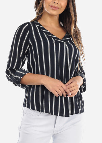 Image of Navy Striped V-Neck Blouse
