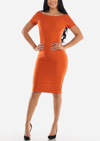 Image of Off Shoulder Brick Bodycon Midi Dress
