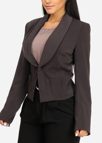 Image of One Button 2 Pocket  Charcoal Blazer