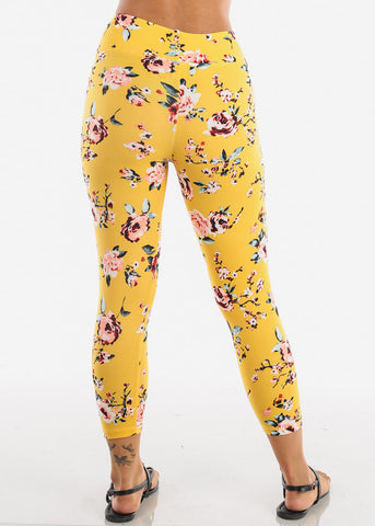 Women's Junior Ladies Cute Comfortable Trendy Pull On High Waisted Yellow Flower Print Capri Leggings