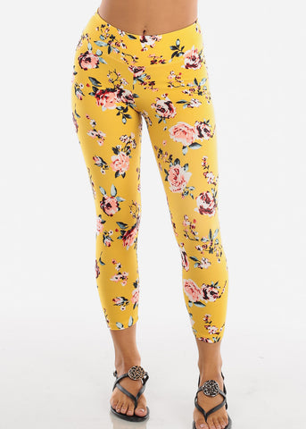 Image of Women's Junior Ladies Cute Comfortable Trendy Pull On High Waisted Yellow Flower Print Capri Leggings