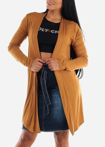 Image of Open Front Drapey Coffee Cardigan