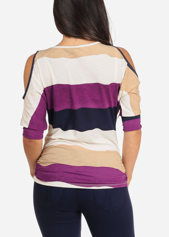 Image of Women's Junior Ladies Casual Going Out Stylish Cute Trendy Multi Color Stripe Cold Shoulder Stretchy Top With Necklace Included