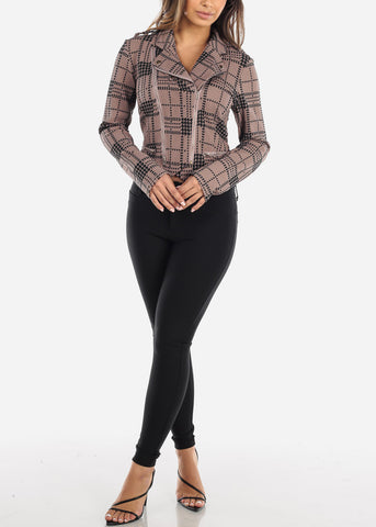 Taupe Houndstooth Moto Jacket