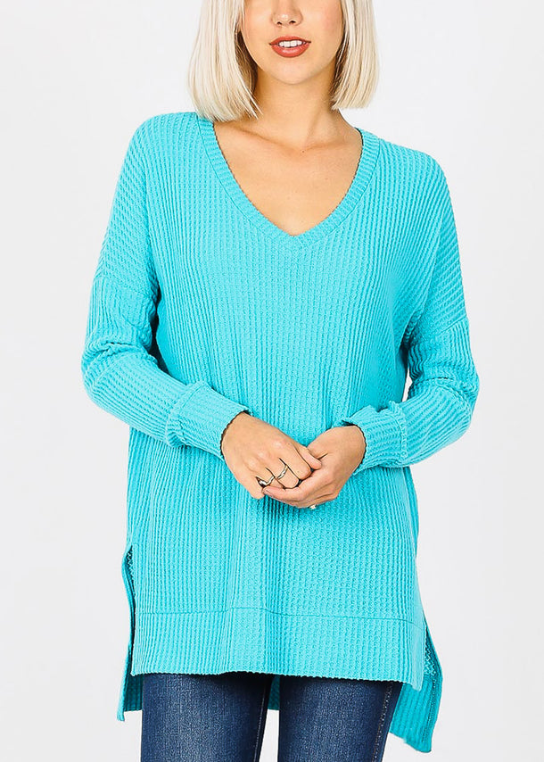 Ice Blue V-Neck Thermal Waffle Sweater