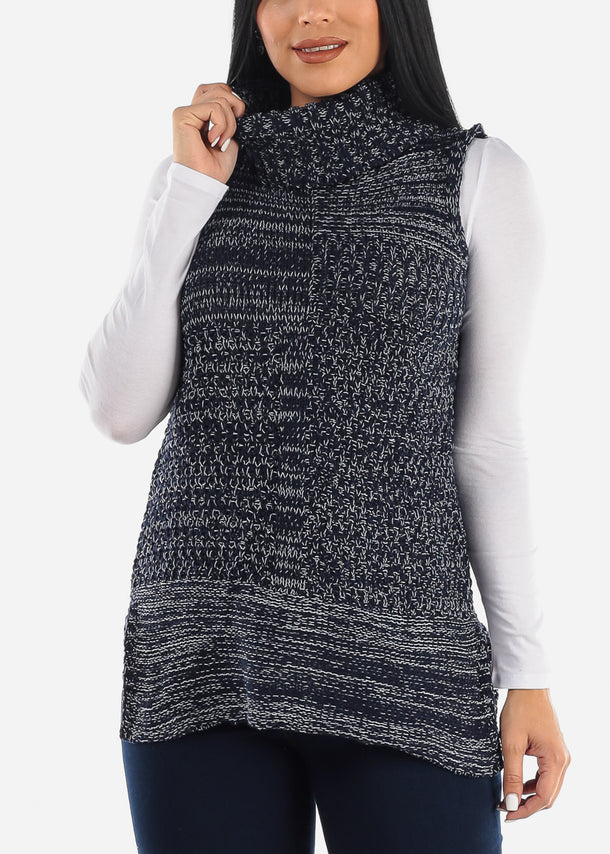 Sleeveless Turtle Neck Sweater Tunic