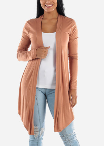 Open Front Drapey Camel Cardigan