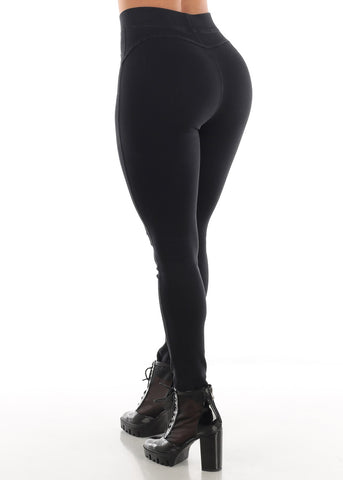 Pull On Butt Lifting Black Jegging Skinny Pants