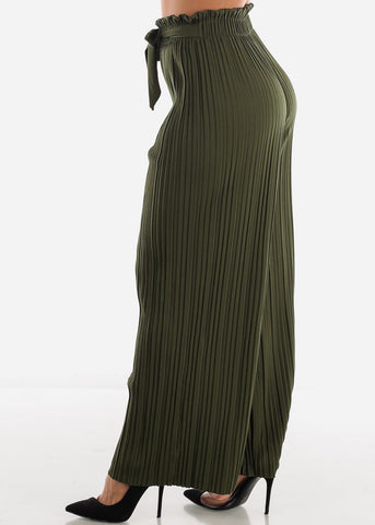 Image of High Waist Olive Palazzo Pants