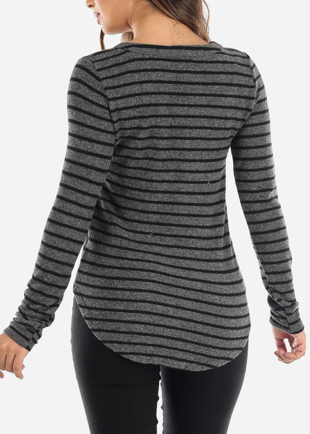 Striped Grey Long Sleeve Top