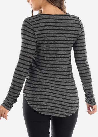 Image of Striped Grey Long Sleeve Top