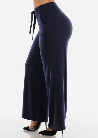 Image of Navy Loose Fit Wide Legged Pants
