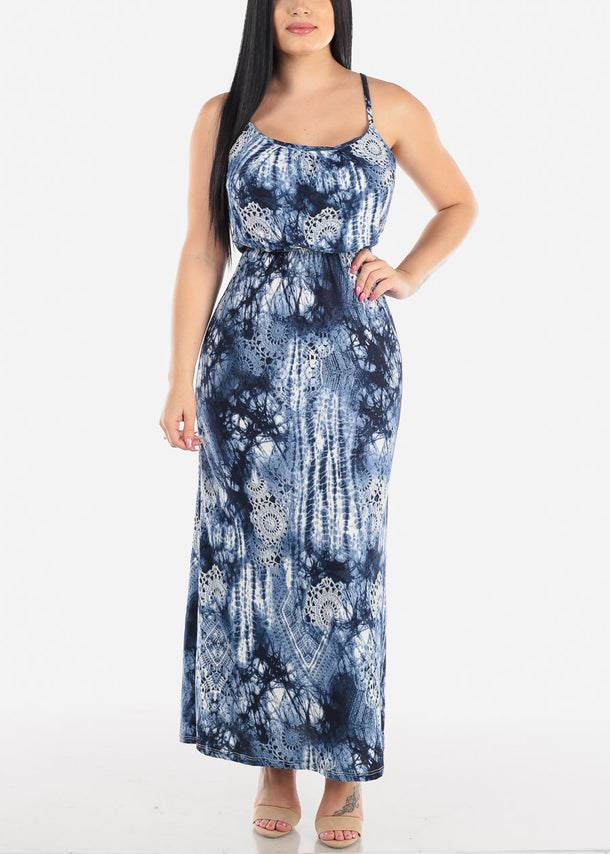 Sleeveless Navy Print Maxi Dress