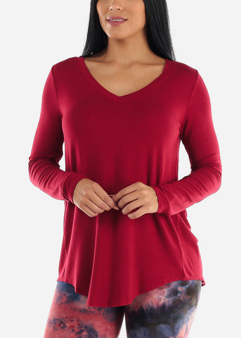Image of Red V-Neck Dolphin Hem Tunic Top