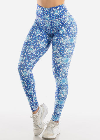 Image of Activewear Blue Printed Leggings