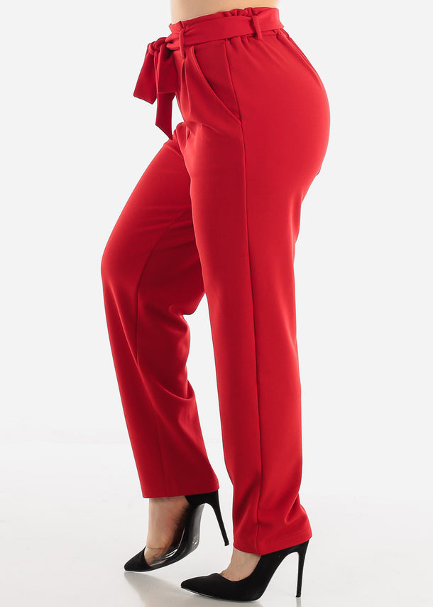 Red Belted Straight Leg Dress Pants