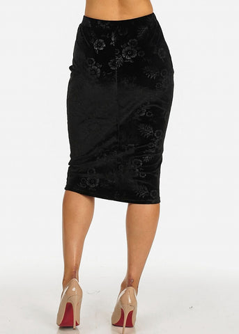 Image of Black Floral Velvet Midi Skirt