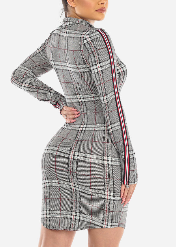 Sexy Zip Up Plaid Mini Dress